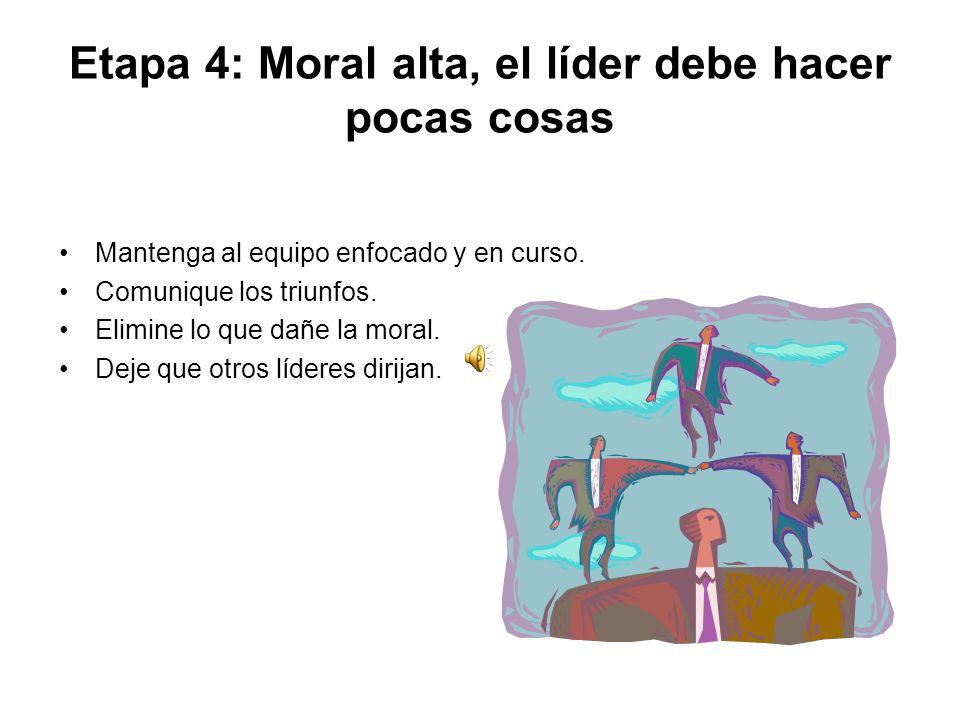Etapa 4: Moral alta, el líder debe hacer pocas cosas Mantenga al equipo enfocado y en curso.