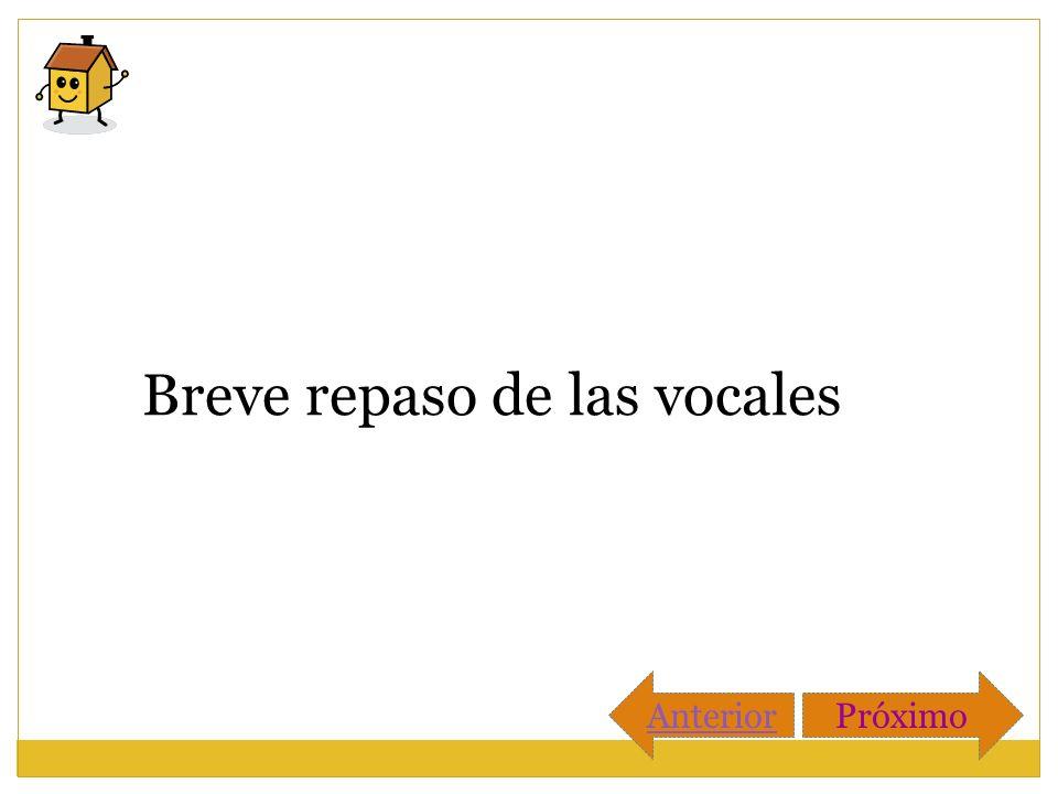 Breve repaso de las vocales AnteriorPróximo