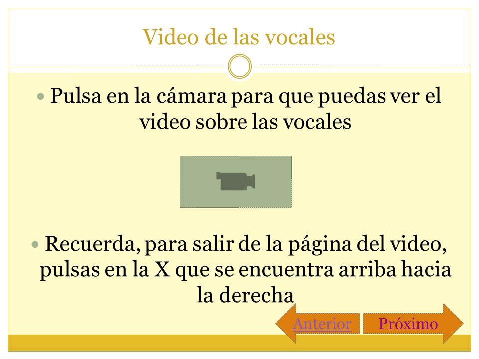 Video de las vocales Pulsa en la cámara para que puedas ver el video sobre las vocales Recuerda, para salir de la página del video, pulsas en la X que