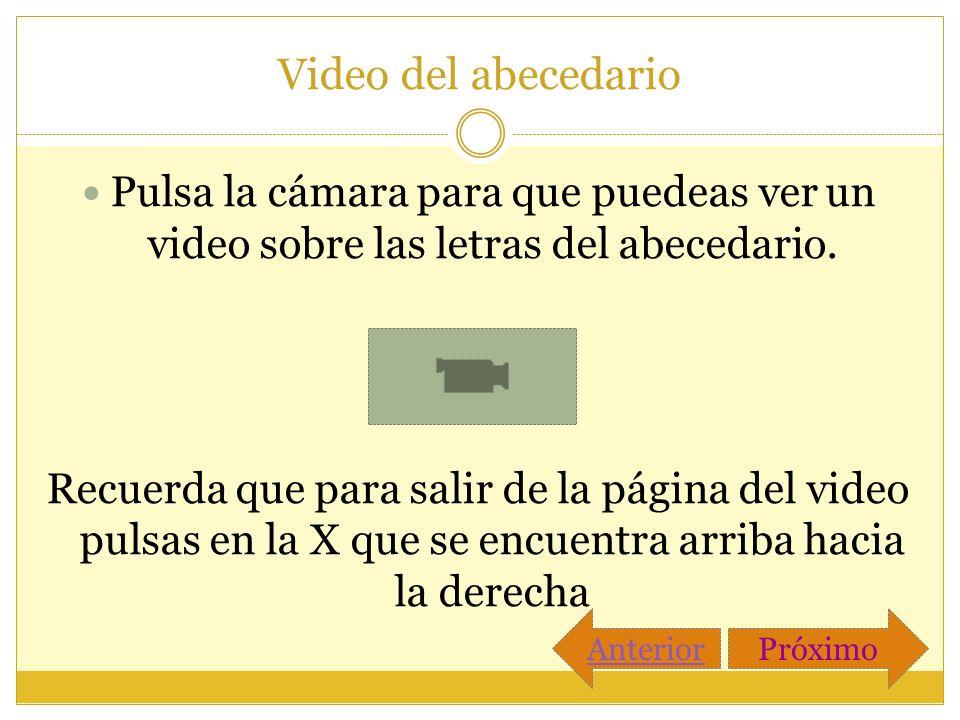 Video del abecedario Pulsa la cámara para que puedeas ver un video sobre las letras del abecedario. Recuerda que para salir de la página del video pul