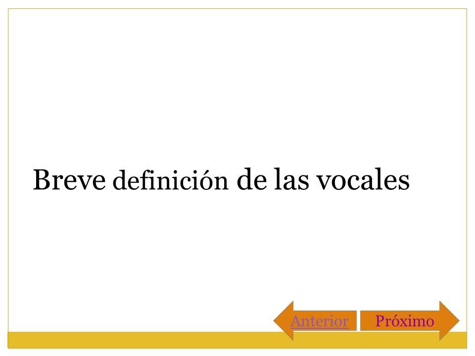 Breve definición de las vocales AnteriorPróximo