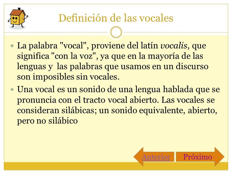 Definición de las vocales La palabra