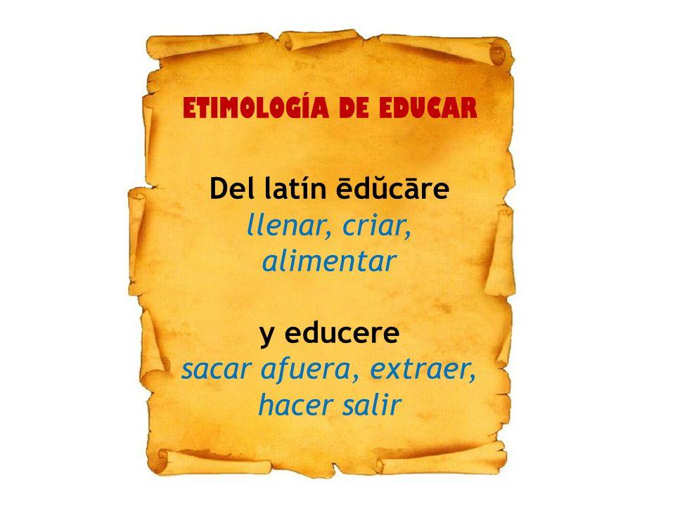 ETIMOLOGÍA DE EDUCAR Del latín ēdŭcāre llenar, criar, alimentar y educere sacar afuera, extraer, hacer salir