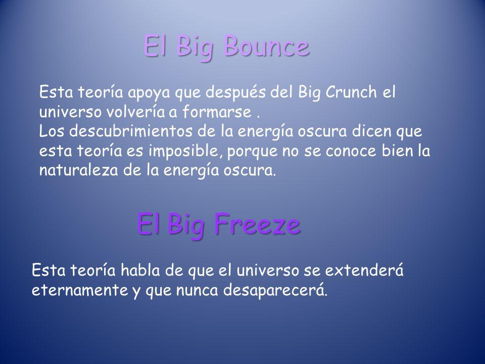 El Big Bounce Esta teoría apoya que después del Big Crunch el universo volvería a formarse.