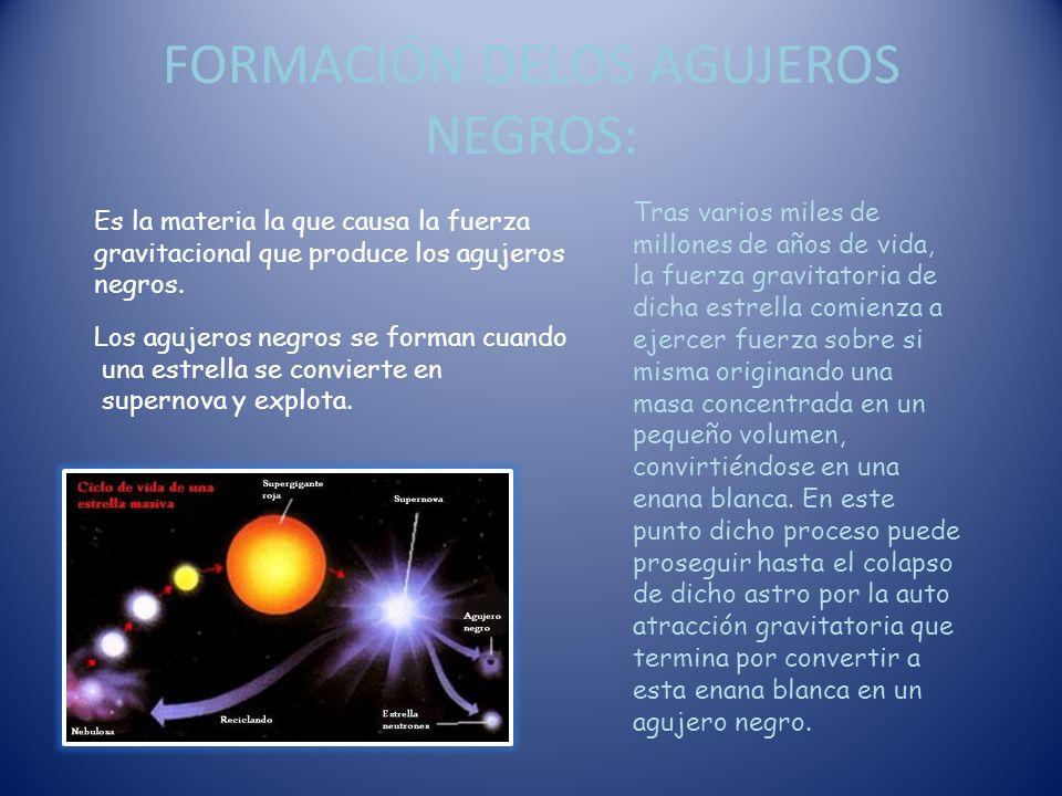 FORMACIÓN DELOS AGUJEROS NEGROS: Es la materia la que causa la fuerza gravitacional que produce los agujeros negros.