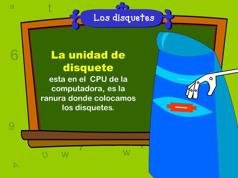 a c t w 6 9 l D a c t w A T 6 9 D A T l w l w c 6 9 Los disquetes La unidad de disquete esta en el CPU de la computadora, es la ranura donde colocamos los disquetes.
