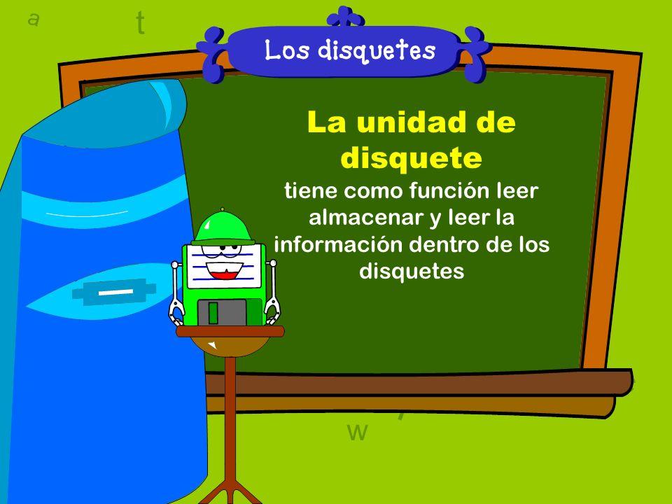 a c t w 6 9 l D a c t w A T 6 9 D A T l w l w c 6 9 Los disquetes La unidad de disquete tiene como función leer almacenar y leer la información dentro de los disquetes