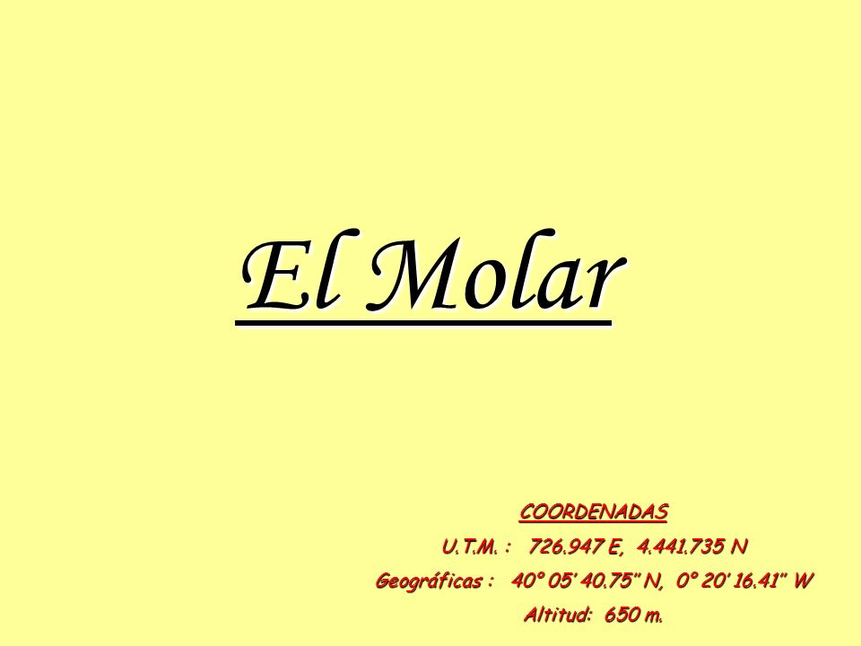 El Molar COORDENADAS U.T.M.