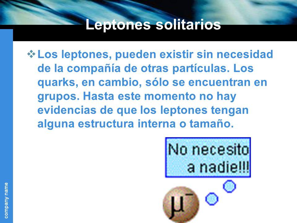company name Leptones solitarios Los leptones, pueden existir sin necesidad de la compañía de otras partículas.