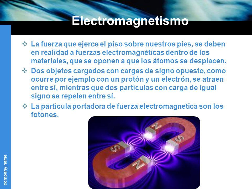 company name Electromagnetismo La fuerza que ejerce el piso sobre nuestros pies, se deben en realidad a fuerzas electromagnéticas dentro de los materiales, que se oponen a que los átomos se desplacen.