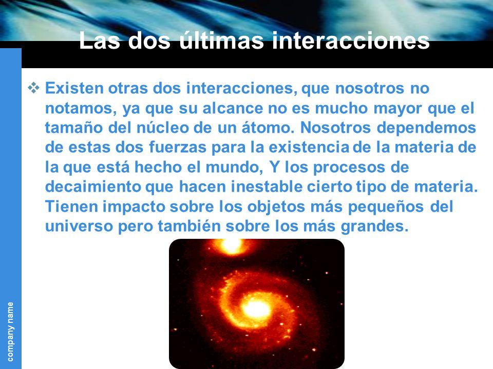 company name Las dos últimas interacciones Existen otras dos interacciones, que nosotros no notamos, ya que su alcance no es mucho mayor que el tamaño del núcleo de un átomo.