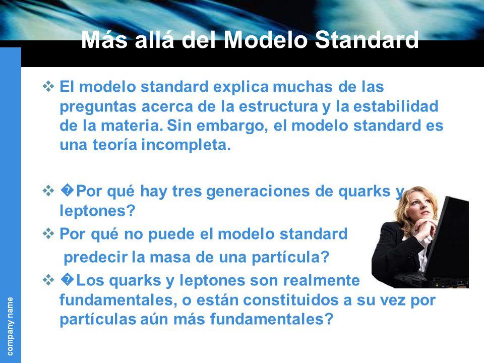 company name Más allá del Modelo Standard El modelo standard explica muchas de las preguntas acerca de la estructura y la estabilidad de la materia.