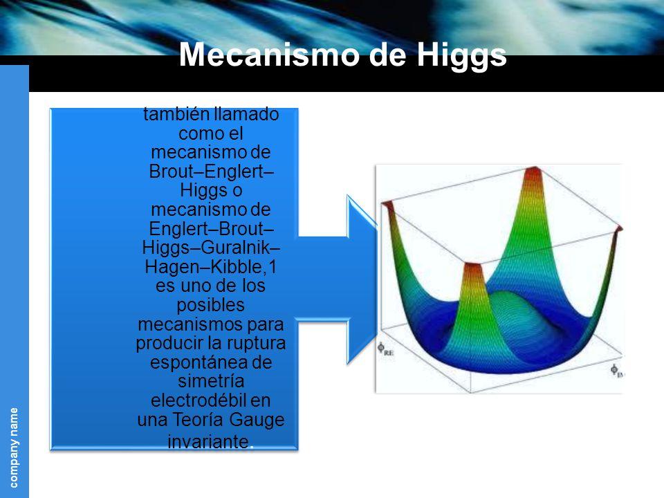 company name Mecanismo de Higgs también llamado como el mecanismo de Brout–Englert– Higgs o mecanismo de Englert–Brout– Higgs–Guralnik– Hagen–Kibble,1 es uno de los posibles mecanismos para producir la ruptura espontánea de simetría electrodébil en una Teoría Gauge invariante.