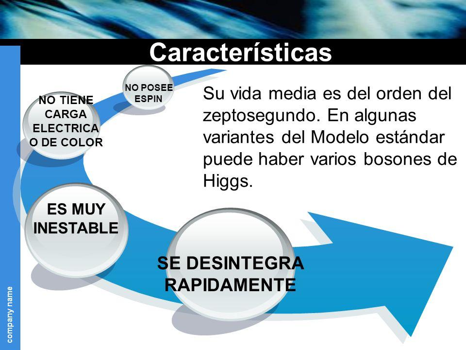 company name Características Su vida media es del orden del zeptosegundo.