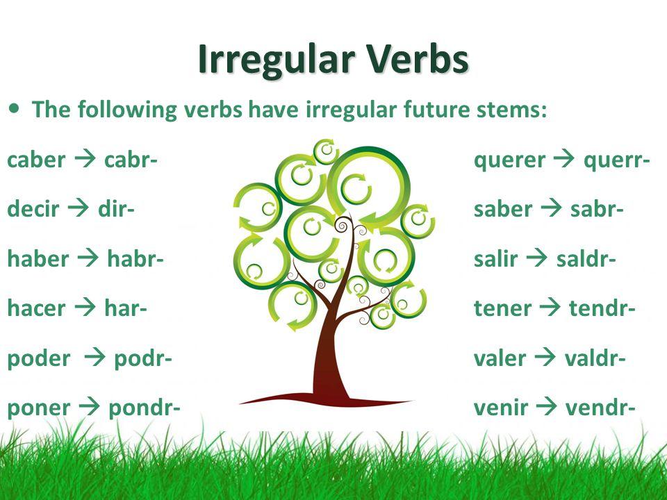 Irregular Verbs The following verbs have irregular future stems: caber cabr-querer querr- decir dir-saber sabr- haber habr-salir saldr- hacer har-tener tendr- poder podr-valer valdr- poner pondr-venir vendr-