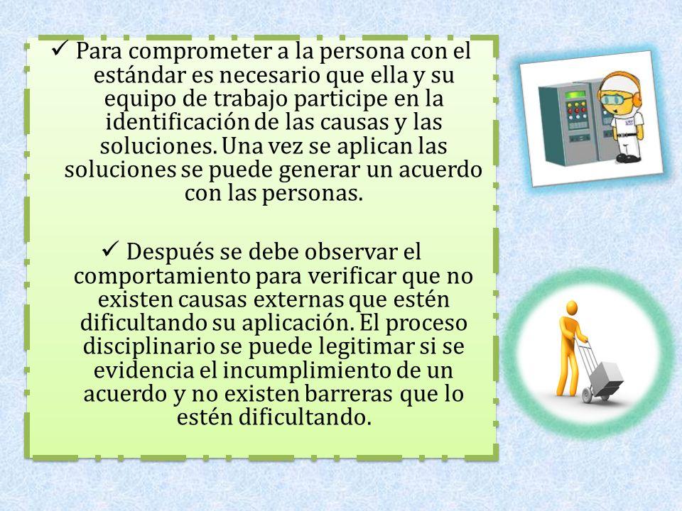 Para comprometer a la persona con el estándar es necesario que ella y su equipo de trabajo participe en la identificación de las causas y las solucion