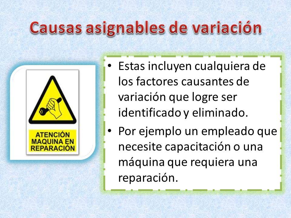 Estas incluyen cualquiera de los factores causantes de variación que logre ser identificado y eliminado. Por ejemplo un empleado que necesite capacita