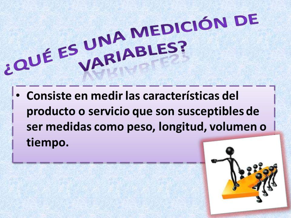 Consiste en medir las características del producto o servicio que son susceptibles de ser medidas como peso, longitud, volumen o tiempo.