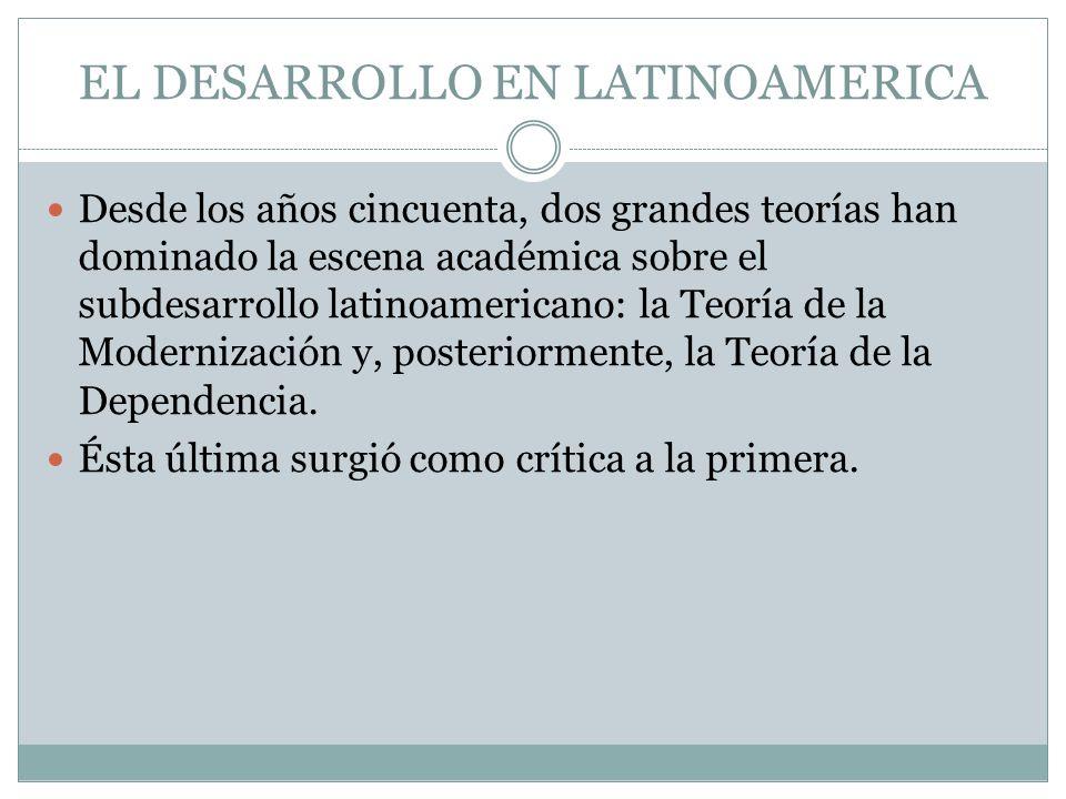 Desde los años cincuenta, dos grandes teorías han dominado la escena académica sobre el subdesarrollo latinoamericano: la Teoría de la Modernización y
