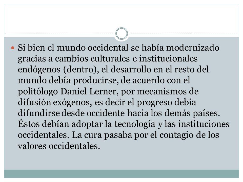 Si bien el mundo occidental se había modernizado gracias a cambios culturales e institucionales endógenos (dentro), el desarrollo en el resto del mund
