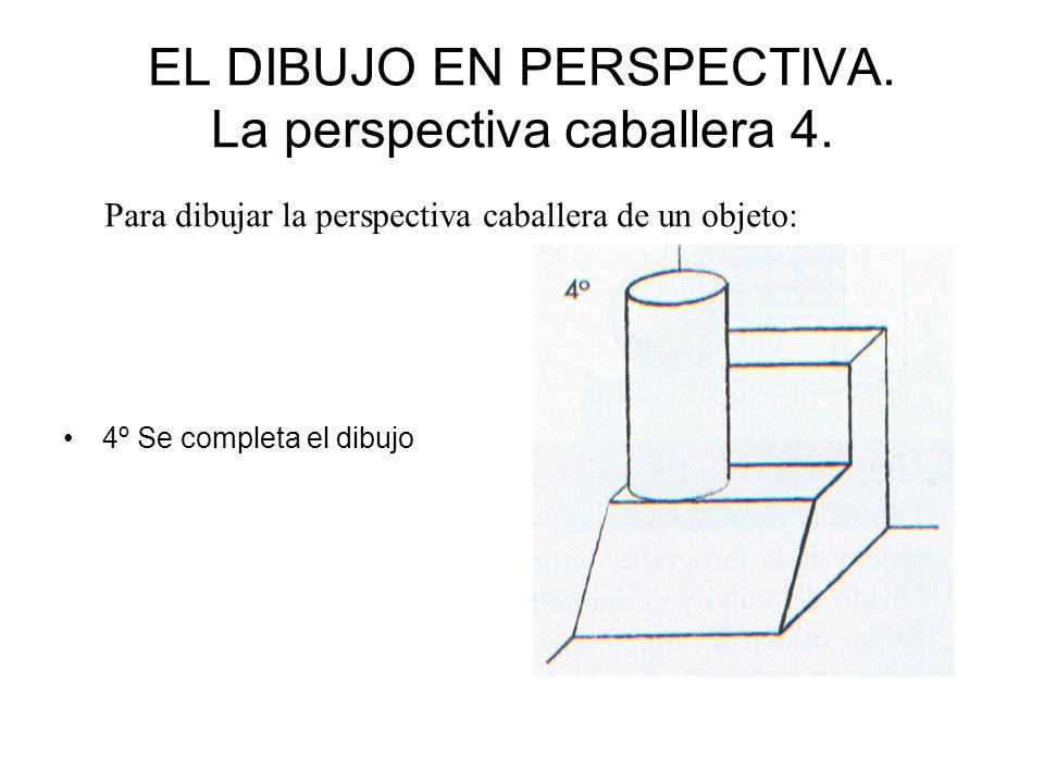 EL DIBUJO EN PERSPECTIVA. La perspectiva caballera 4. 4º Se completa el dibujo Para dibujar la perspectiva caballera de un objeto: