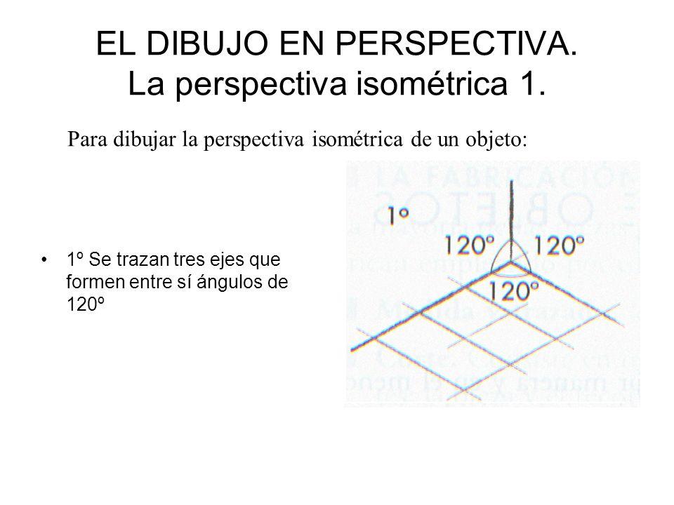 EL DIBUJO EN PERSPECTIVA. La perspectiva isométrica 1. 1º Se trazan tres ejes que formen entre sí ángulos de 120º Para dibujar la perspectiva isométri