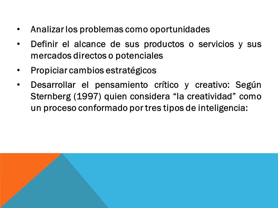 Analizar los problemas como oportunidades Definir el alcance de sus productos o servicios y sus mercados directos o potenciales Propiciar cambios estr