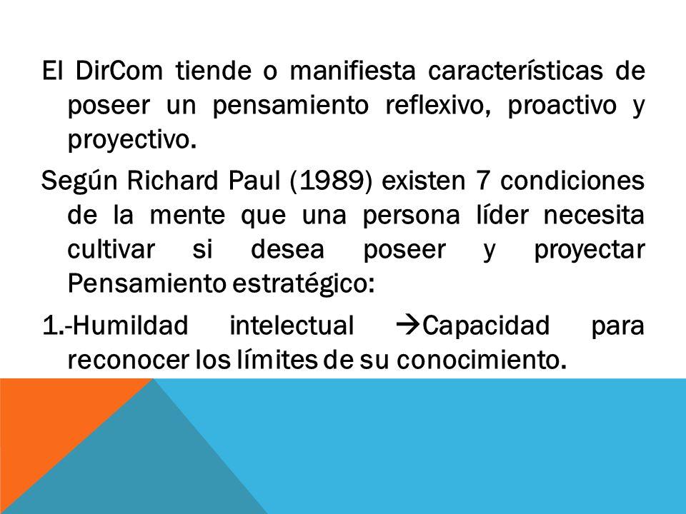 El DirCom tiende o manifiesta características de poseer un pensamiento reflexivo, proactivo y proyectivo. Según Richard Paul (1989) existen 7 condicio