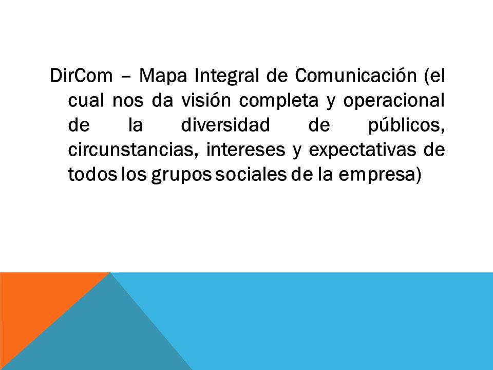 DirCom – Mapa Integral de Comunicación (el cual nos da visión completa y operacional de la diversidad de públicos, circunstancias, intereses y expecta