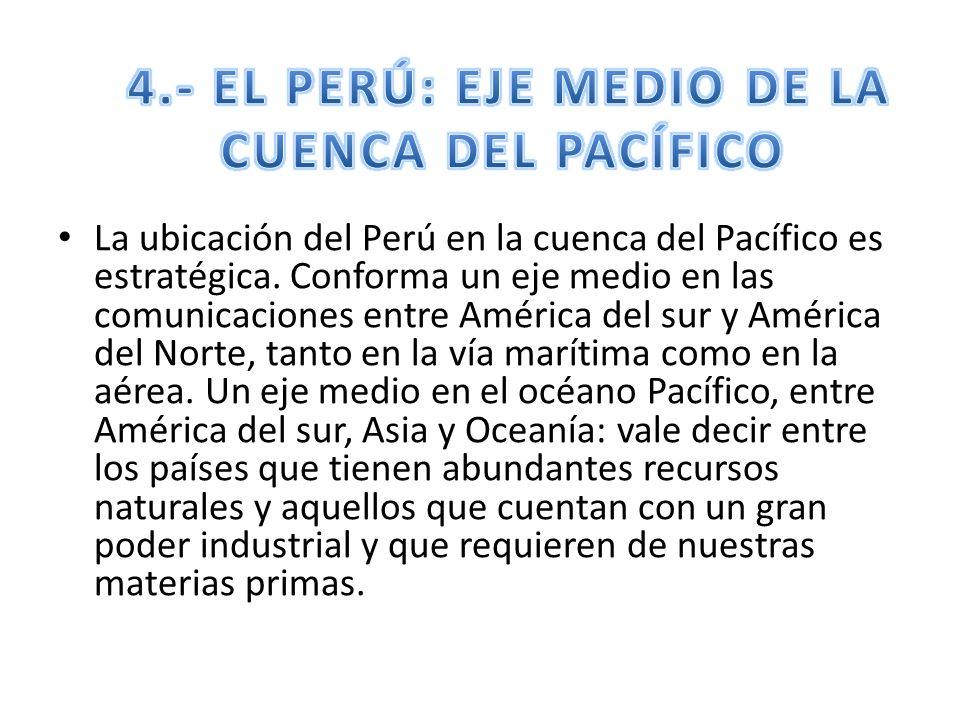 La ubicación del Perú en la cuenca del Pacífico es estratégica. Conforma un eje medio en las comunicaciones entre América del sur y América del Norte,