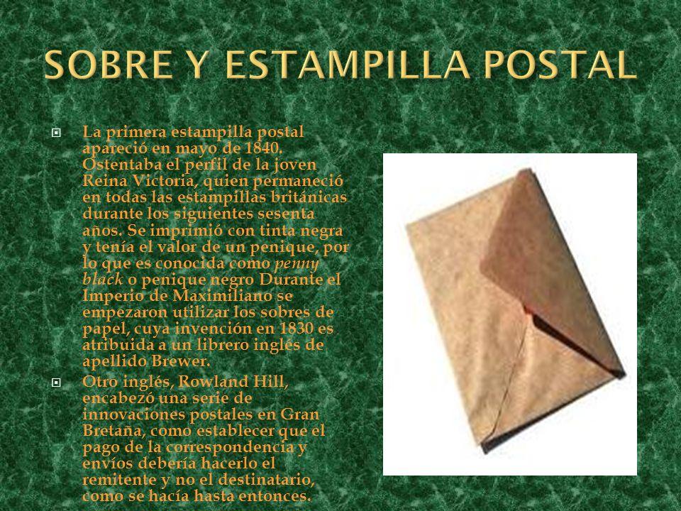 La primera estampilla postal apareció en mayo de 1840. Ostentaba el perfil de la joven Reina Victoria, quien permaneció en todas las estampillas britá