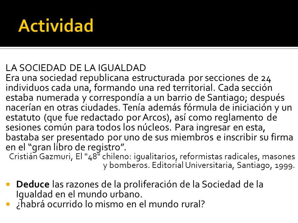 LA SOCIEDAD DE LA IGUALDAD Era una sociedad republicana estructurada por secciones de 24 individuos cada una, formando una red territorial. Cada secci