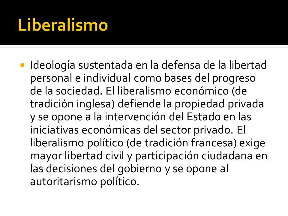 Ideología sustentada en la defensa de la libertad personal e individual como bases del progreso de la sociedad. El liberalismo económico (de tradición