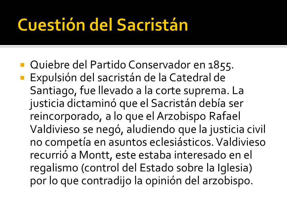 Quiebre del Partido Conservador en 1855. Expulsión del sacristán de la Catedral de Santiago, fue llevado a la corte suprema. La justicia dictaminó que