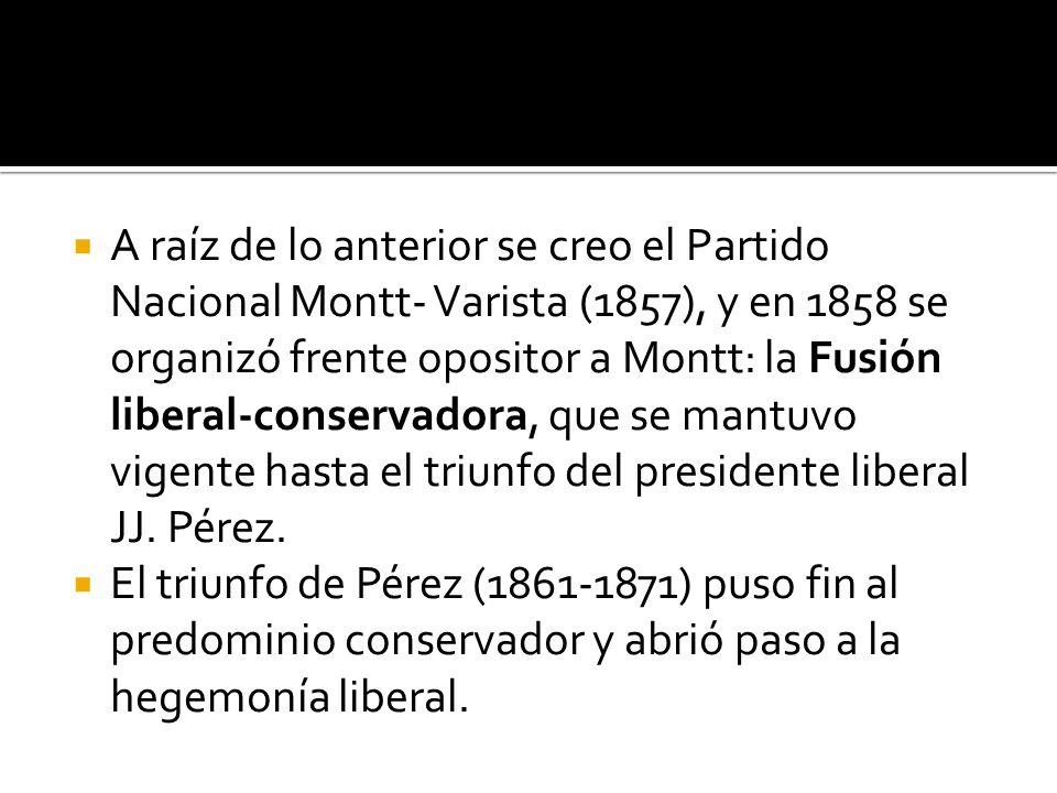 A raíz de lo anterior se creo el Partido Nacional Montt- Varista (1857), y en 1858 se organizó frente opositor a Montt: la Fusión liberal-conservadora