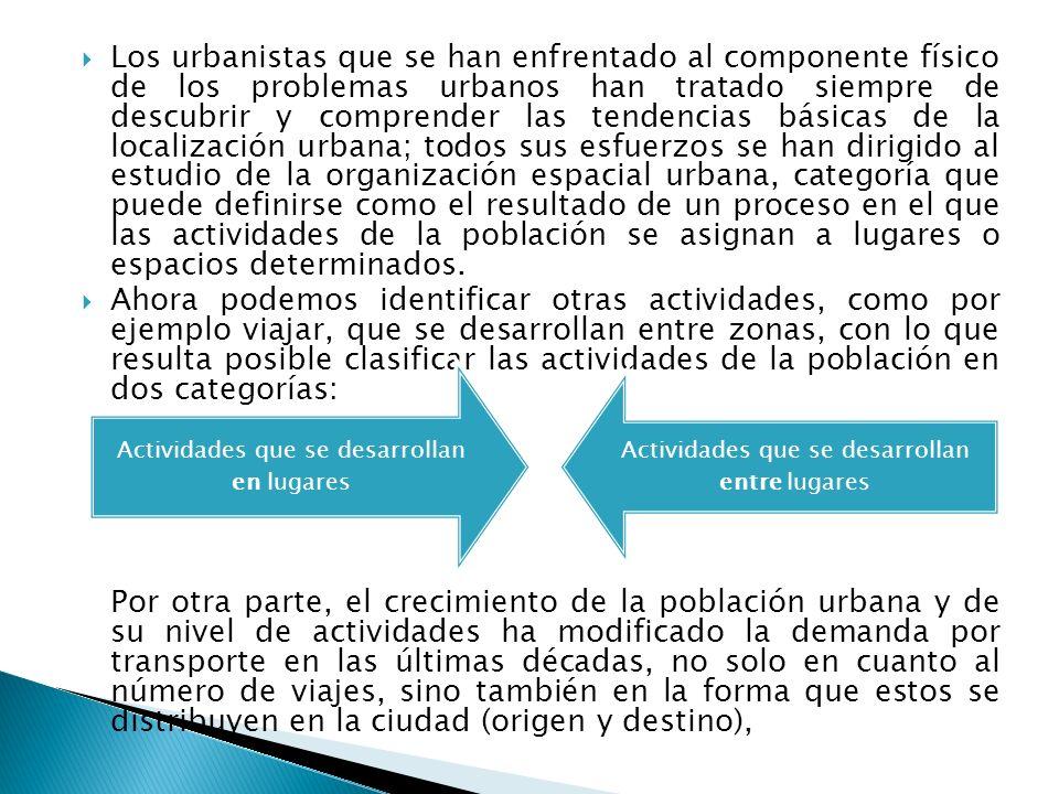 Los urbanistas que se han enfrentado al componente físico de los problemas urbanos han tratado siempre de descubrir y comprender las tendencias básica