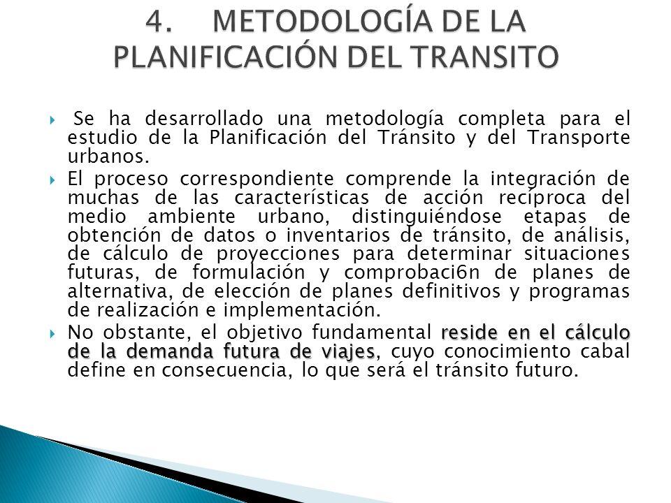 Se ha desarrollado una metodología completa para el estudio de la Planificación del Tránsito y del Transporte urbanos. El proceso correspondiente comp