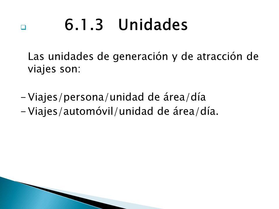 6.1.3 Unidades Las unidades de generación y de atracción de viajes son: -Viajes/persona/unidad de área/día -Viajes/automóvil/unidad de área/día.