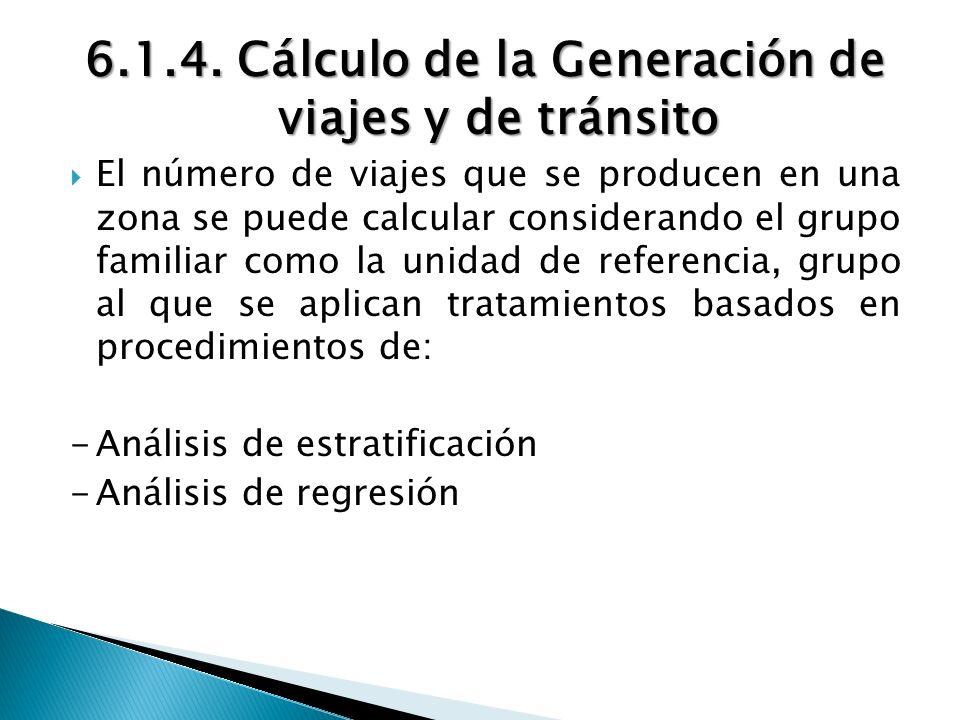 6.1.4. Cálculo de la Generación de viajes y de tránsito El número de viajes que se producen en una zona se puede calcular considerando el grupo famili