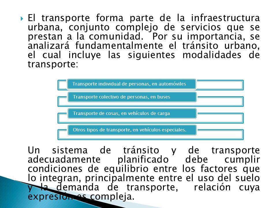 El transporte forma parte de la infraestructura urbana, conjunto complejo de servicios que se prestan a la comunidad. Por su importancia, se analizará