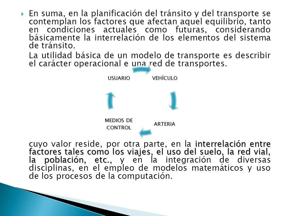 En suma, en la planificación del tránsito y del transporte se contemplan los factores que afectan aquel equilibrio, tanto en condiciones actuales como