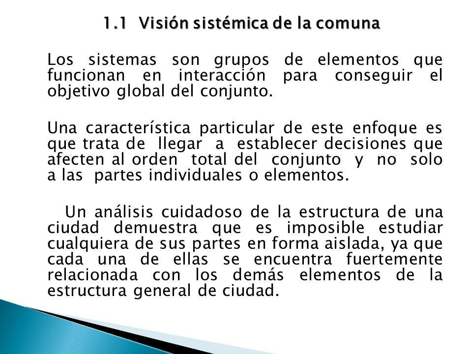 1.1Visión sistémica de la comuna 1.1Visión sistémica de la comuna Los sistemas son grupos de elementos que funcionan en interacción para conseguir el