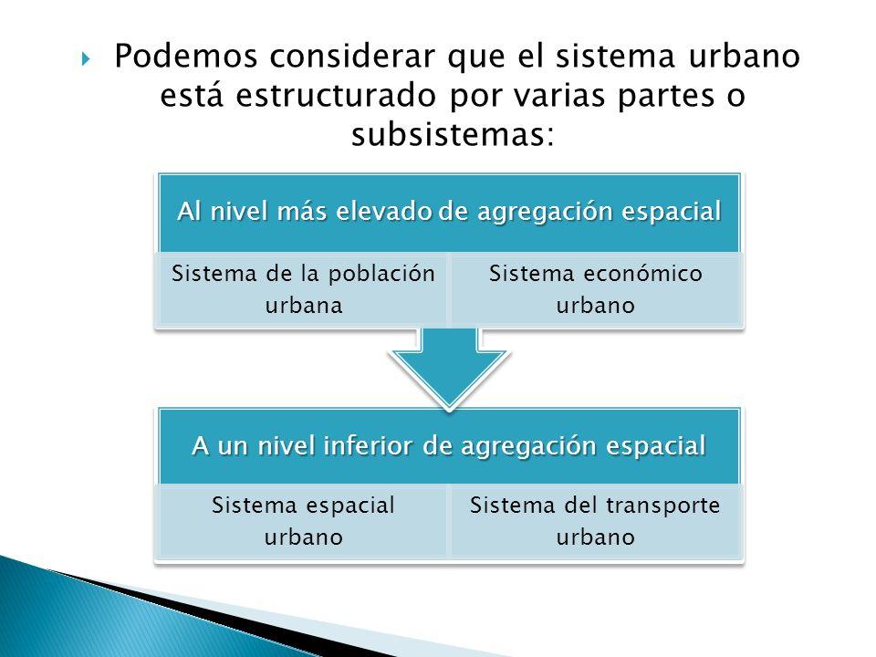 Podemos considerar que el sistema urbano está estructurado por varias partes o subsistemas: A un nivel inferior de agregación espacial Sistema espacia