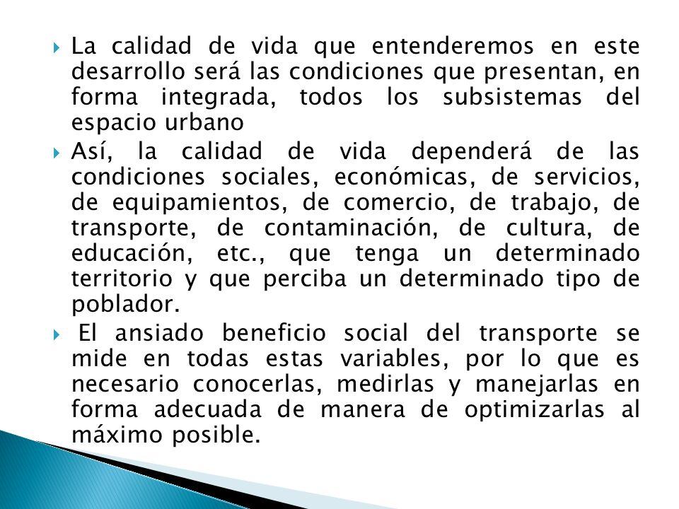 La calidad de vida que entenderemos en este desarrollo será las condiciones que presentan, en forma integrada, todos los subsistemas del espacio urban