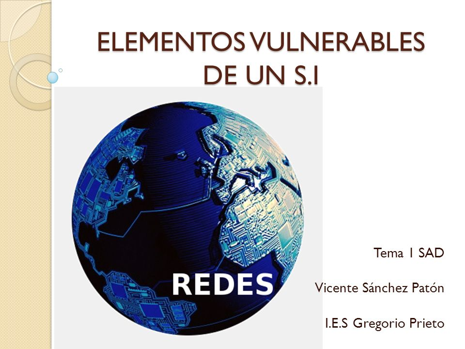 ELEMENTOS VULNERABLES DE UN S.I Tema 1 SAD Vicente Sánchez Patón I.E.S Gregorio Prieto