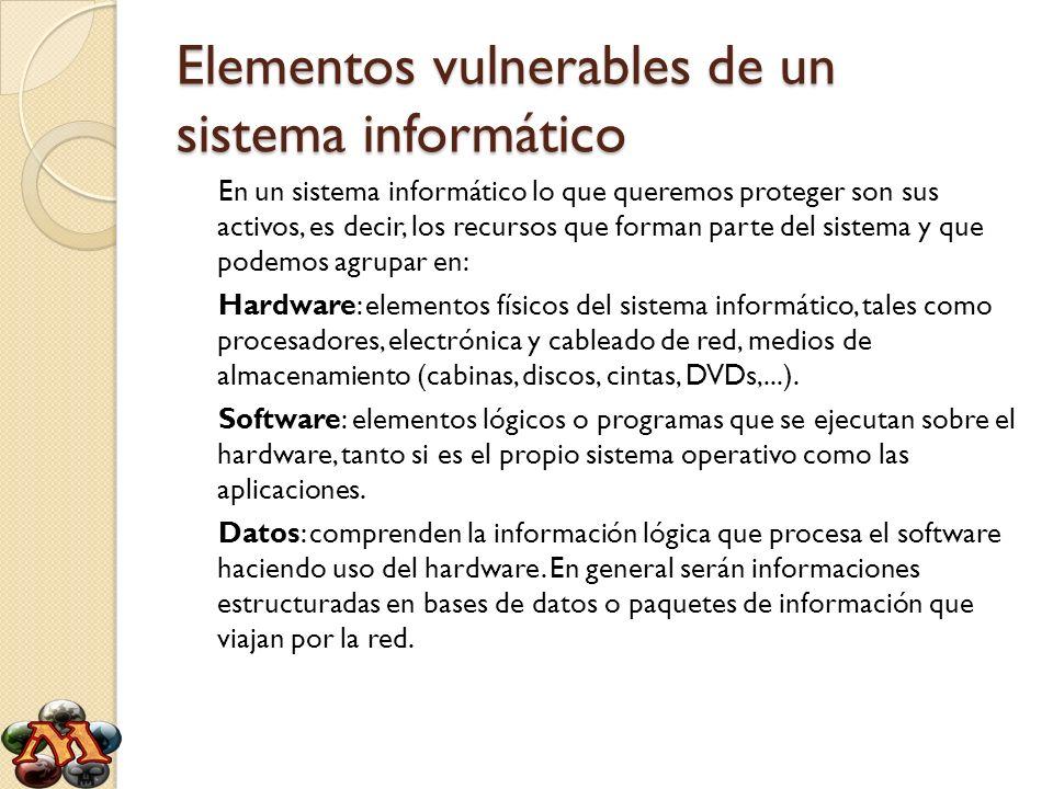 Elementos vulnerables de un sistema informático En un sistema informático lo que queremos proteger son sus activos, es decir, los recursos que forman