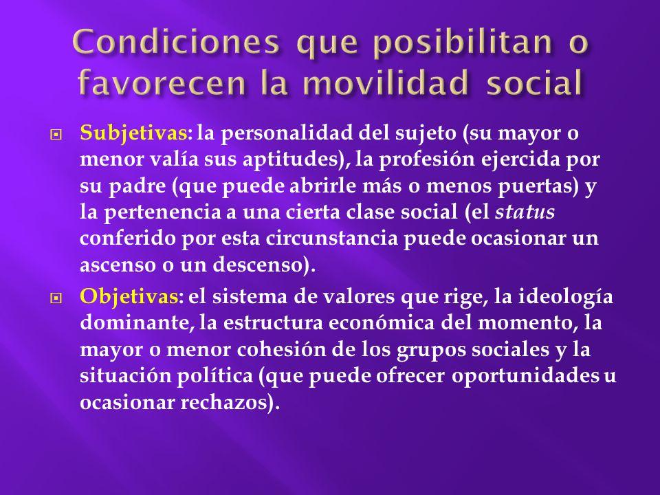 Se considera movilidad social, el hecho de traspasar los límites superior o inferior de una determinada clase social.