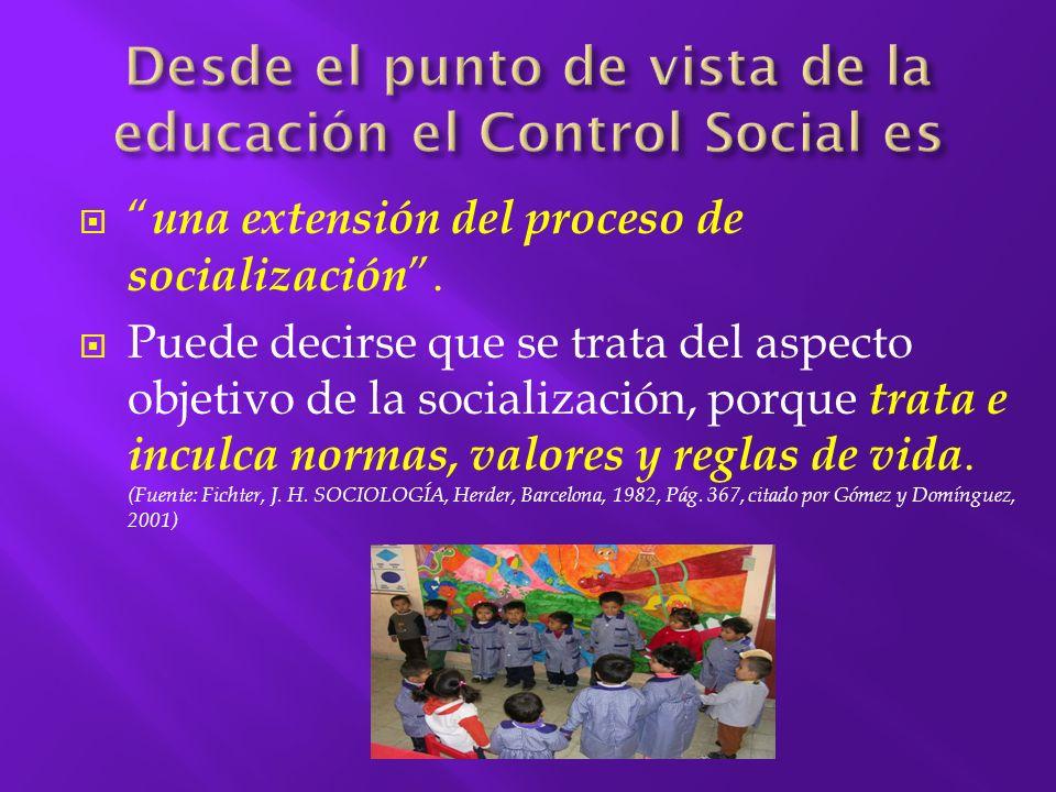 El Control Social se refiere a los esfuerzos de un grupo o de una sociedad por la autorregulación (o por regularse a sí misma).