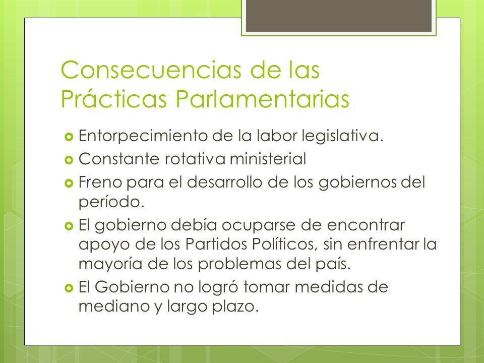 Consecuencias de las Prácticas Parlamentarias Entorpecimiento de la labor legislativa. Constante rotativa ministerial Freno para el desarrollo de los