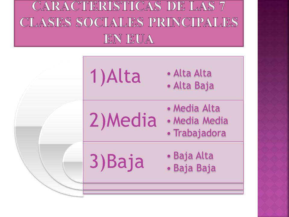 1)Alta 2)Media 3)Baja Alta Alta Baja Media Alta Media Trabajadora Baja Alta Baja